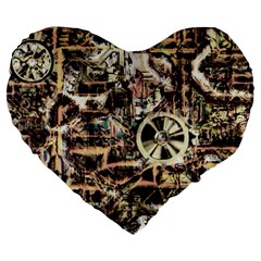Steampunk 4 Soft Large 19  Premium Flano Heart Shape Cushions