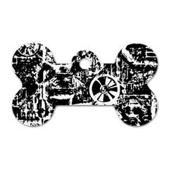 Steampunk Bw Dog Tag Bone (two Sides)