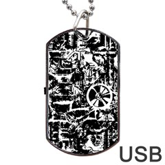 Steampunk Bw Dog Tag USB Flash (One Side)