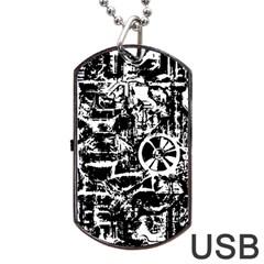Steampunk Bw Dog Tag USB Flash (Two Sides)