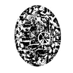 Steampunk Bw Ornament (Oval Filigree)