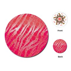 Florescent Pink Zebra Pattern  Playing Cards (Round)