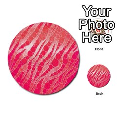Florescent Pink Zebra Pattern  Multi-purpose Cards (Round)