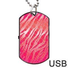 Florescent Pink Zebra Pattern  Dog Tag USB Flash (Two Sides)