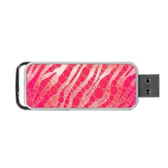 Florescent Pink Zebra Pattern  Portable USB Flash (One Side)