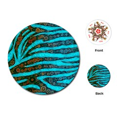 Turquoise Blue Zebra Abstract  Playing Cards (Round)