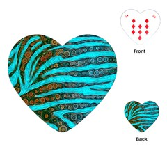 Turquoise Blue Zebra Abstract  Playing Cards (Heart)