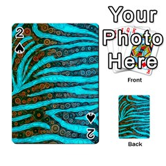 Turquoise Blue Zebra Abstract  Playing Cards 54 Designs
