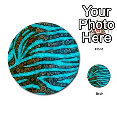 Turquoise Blue Zebra Abstract  Multi-purpose Cards (Round)
