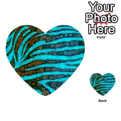 Turquoise Blue Zebra Abstract  Multi-purpose Cards (Heart)