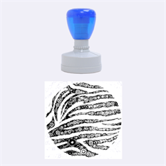 Turquoise Blue Zebra Abstract  Rubber Round Stamps (Medium)