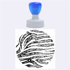Turquoise Blue Zebra Abstract  Rubber Round Stamps (Large)