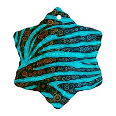 Turquoise Blue Zebra Abstract  Snowflake Ornament (2-Side)