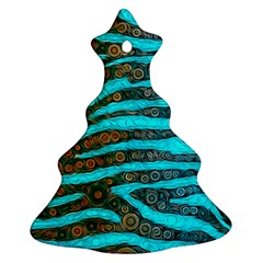 Turquoise Blue Zebra Abstract  Christmas Tree Ornament (2 Sides)