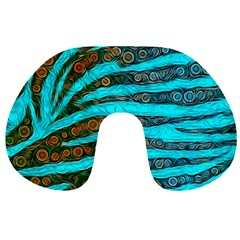 Turquoise Blue Zebra Abstract  Travel Neck Pillows