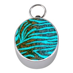 Turquoise Blue Zebra Abstract  Mini Silver Compasses