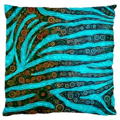 Turquoise Blue Zebra Abstract  Large Flano Cushion Cases (two Sides)