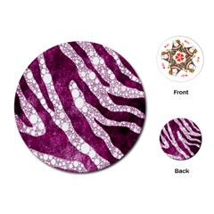 Purple Zebra Print Bling Pattern  Playing Cards (round)