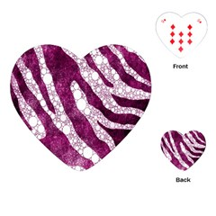 Purple Zebra Print Bling Pattern  Playing Cards (Heart)