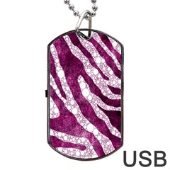 Purple Zebra Print Bling Pattern  Dog Tag Usb Flash (one Side)