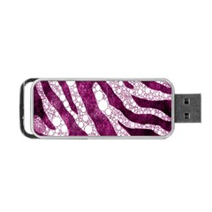 Purple Zebra Print Bling Pattern  Portable USB Flash (Two Sides)