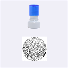 Orange Green Zebra Bling Pattern  Rubber Round Stamps (small)