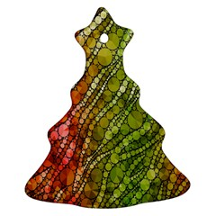 Orange Green Zebra Bling Pattern  Ornament (Christmas Tree)