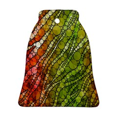 Orange Green Zebra Bling Pattern  Bell Ornament (2 Sides)