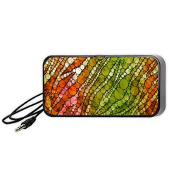 Orange Green Zebra Bling Pattern  Portable Speaker (Black)