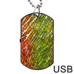 Orange Green Zebra Bling Pattern  Dog Tag USB Flash (One Side)