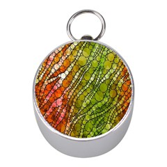 Orange Green Zebra Bling Pattern  Mini Silver Compasses