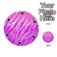 Florescent Pink Zebra Pattern  Playing Cards 54 (Round)
