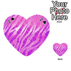 Florescent Pink Zebra Pattern  Playing Cards 54 (heart)