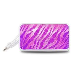 Florescent Pink Zebra Pattern  Portable Speaker (White)