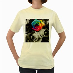 Blach,white Splash Roses Women s Yellow T Shirt