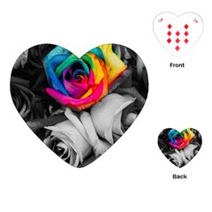 Blach,white Splash Roses Playing Cards (Heart)