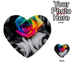 Blach,white Splash Roses Multi Purpose Cards (heart)