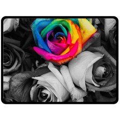 Blach,white Splash Roses Fleece Blanket (Large)
