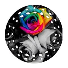 Blach,white Splash Roses Round Filigree Ornament (2side)