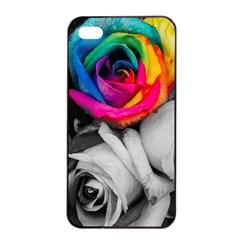 Blach,white Splash Roses Apple iPhone 4/4s Seamless Case (Black)