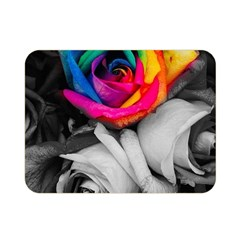 Blach,white Splash Roses Double Sided Flano Blanket (Mini)