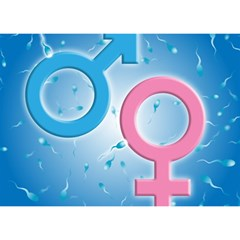 Sperm and Gender Symbols  Birthday Cake 3D Greeting Card (7x5)