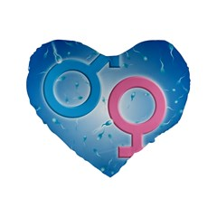 Sperm and Gender Symbols  Standard 16  Premium Flano Heart Shape Cushions