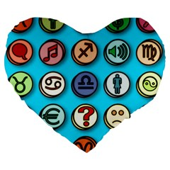 Emotion Pills Large 19  Premium Flano Heart Shape Cushions