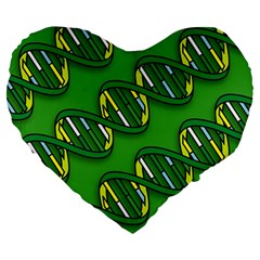 DNA Pattern Large 19  Premium Flano Heart Shape Cushions