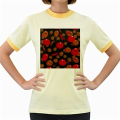 Blood Cells Women s Fitted Ringer T-Shirts