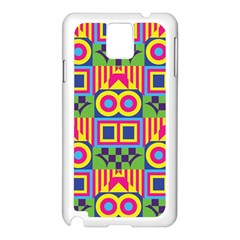 Colorful Shapes In Rhombus Pattern Samsung Galaxy Note 3 N9005 Case (white)