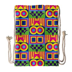 Colorful Shapes In Rhombus Pattern Large Drawstring Bag