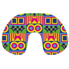 Colorful shapes in rhombus pattern Travel Neck Pillow