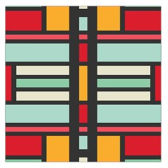 Mirrored Rectangles In Retro Colors Satin Scarf